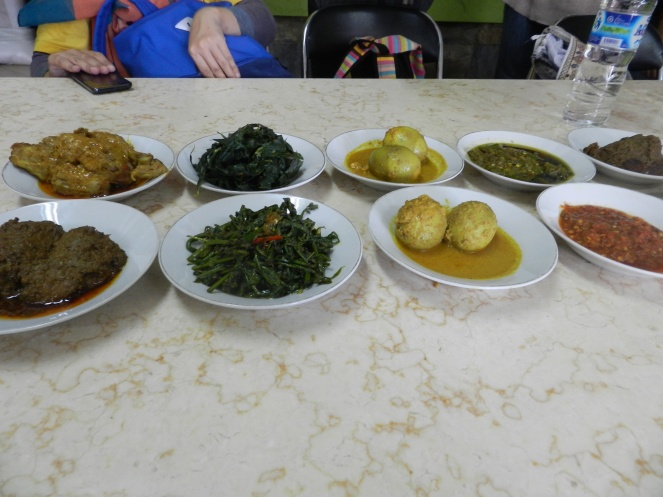 Ada rendang daging, telur itik (bebek) gulai, sayur celur, ayam goreng rempah, sambal merah dan sambal hijau